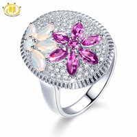 Hutang Opal Wedding Ring Natural Gemstone Pink Garnet Solid 925 Sterling Silver Fine Fashion Jewelry For Her's Presents Gift New