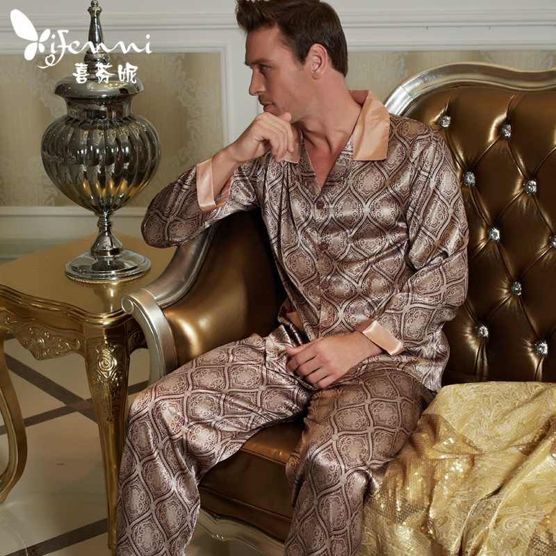 Xifenni Pajamas Male Satin Silk Sleepwear Men Long-Sleeve Pyjama Pants Sets Softness Faux Silk Pijama  20506