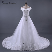 C V New Arrival 2017 Real Photo Long Train Luxury Wedding Dress Appliques Crystal Beading Middle