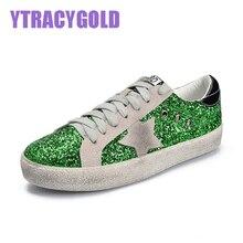 YtracyGold Glitter Star Leather Casual font b Shoes b font For font b Women b font