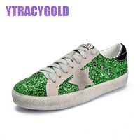 YtracyGold Glitter Star Leather Casual Shoes For Women Flats Fashion Tenis Feminino Vulcanize Shoes Women Lace