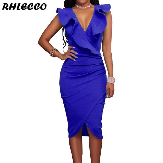 2019 Women Yellow Ruffles Casual Party Black Ladies Wrap Sleeveless V Neck Sexy Dress