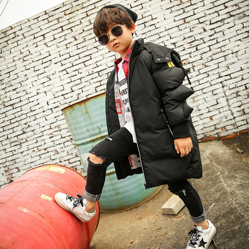 2017 autumn and winter new children's down jacket in the long coat thickening hooded boy down jacket children's clothing lucky panda 2016 woman autumn and winter coat in the long thin slim temperament size hooded down cotton coat lkb180