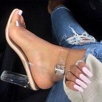 Sexy 2017 Summer Women Sandals High Heels Crystal Clear Block Chunky Heel Open Toe Sandals T