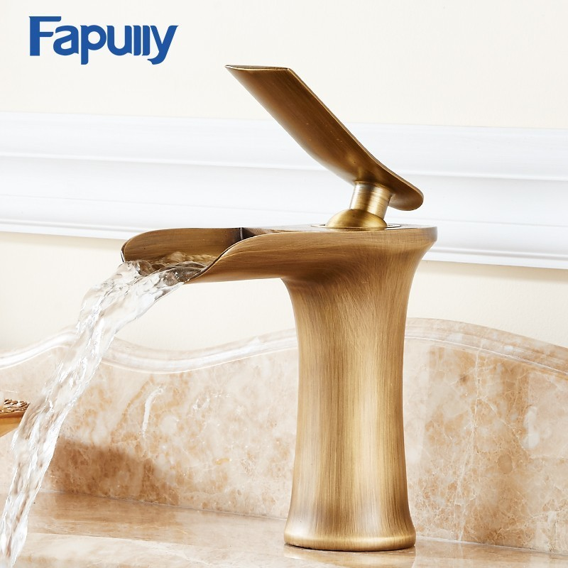 Fapully Short Style Single Lever Waterfall Bathroom Basin Faucet Brass Antique Hot and Cold bathroom Sink Mixer Taps 130 11A in Basin Faucets from Home Improvement