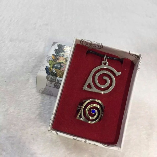 Naruto Konoha Symbol Necklace + Ring Set