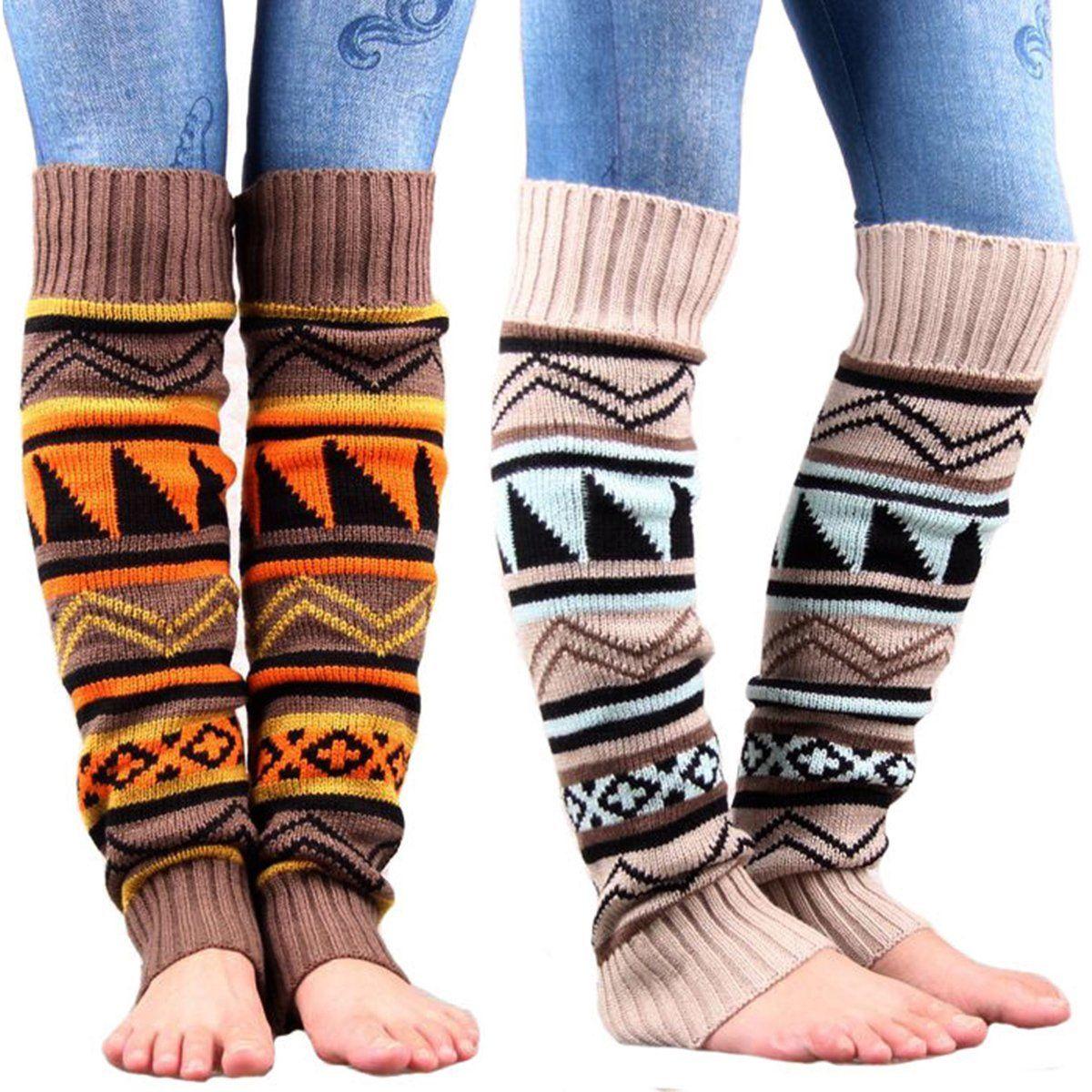 Winter womens gaiters Crochet Knitted Stocking Boot Cuffs Topper Footless Leg Warmers Trim Bohemian Stockings knee high socks Лосины
