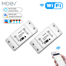 2 Pieces DIY WiFi Smart Light Switch Universal Breaker Timer Wireless Remote Control Works with Alexa Google Home Smart Home cheap MOES Ready-to-Go WiFi Smart Switch Slot 2 Channels Neutral+Live wire AC 110V-250V 50-60Hz 1800W IEEE802 11b G N WEP WPA-PSK WPA2-PSK
