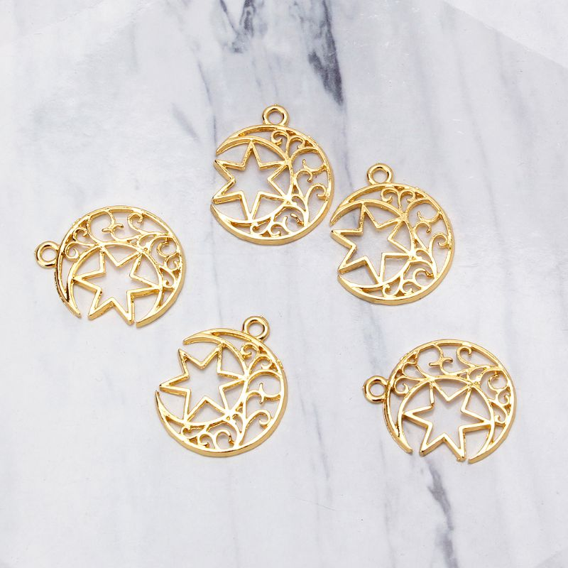 5Pcs Moon Star Blank Resin Frame Pendant Open Bezel Setting Jewelry Making in Jewelry Findings Components from Jewelry Accessories