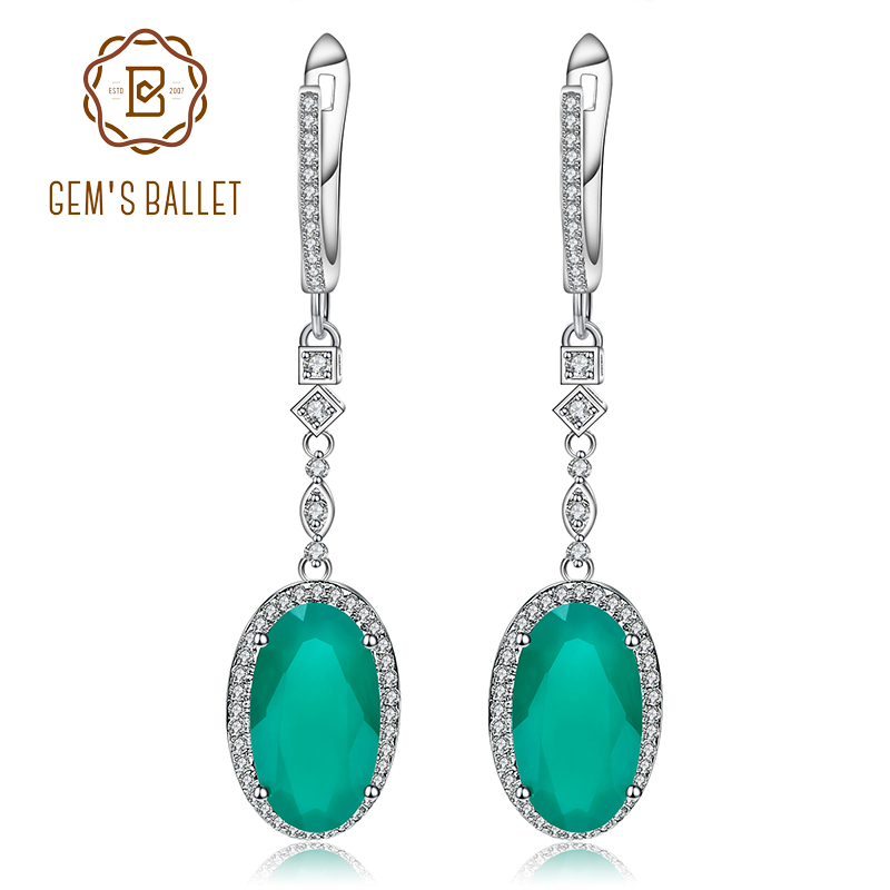 Gem s Ballet 12 50Ct Natural Green Agate Vintage Earrings For Women 925 Sterling Silver Gemstone