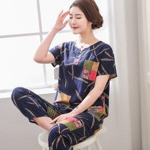 Image 2 - Top Grade nowe kobiece piżamy zestaw bielizna nocna kobiety bawełna nadruk na tkaninie lnianej kwiat piżamy lato dorywczo luźna bielizna nocna odzież domowa