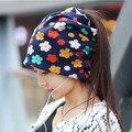 2016 nueva 3 manera de llevar Sombreros Niñas Casquillo de La Flor de Las Mujeres Kintted Gorros Sombreros de Invierno para Las Mujeres Balaklava Primavera Femenina Mujeres Gorros