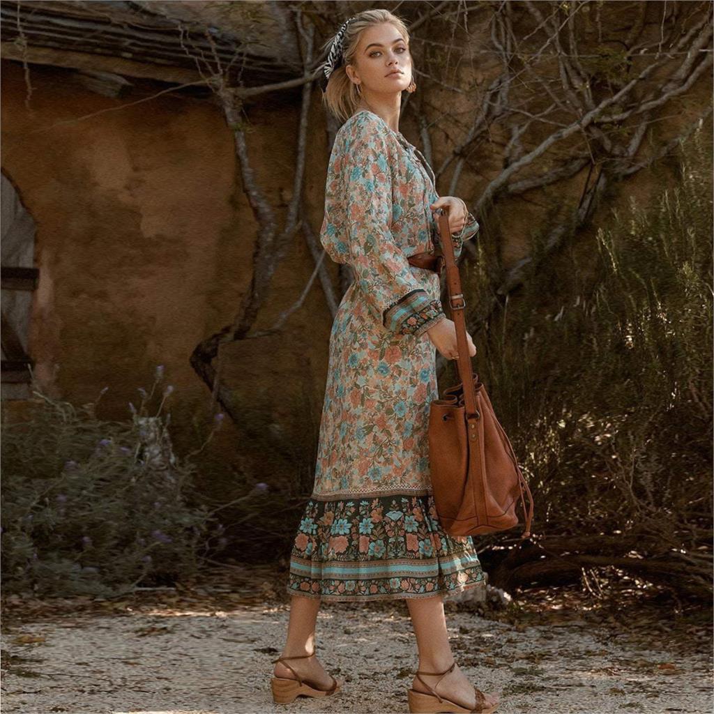 24bba8b2cd490 Jastie 2019 Gypsy Womens Skirt Inspired Floral Print Bohemian Beach Shell  Buttons Hippie Chic Boho Skirts   Sorogal