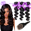 7A Ashimary Malaysian Virgin Hair Loose Wave With Closure Curly Weave Human Hair 3Bundles With Lace closure Malaysian Loose Wave