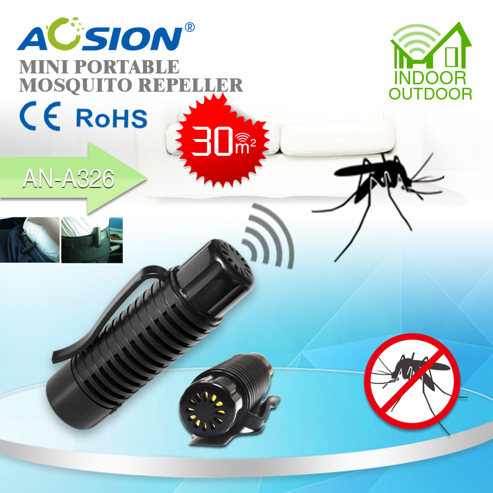 Free Shipping 2 X AOSION Patent Battery Powered Insect Mini Portable Ultra Sonic Anti  Mosquito Repeller Repellent Repel