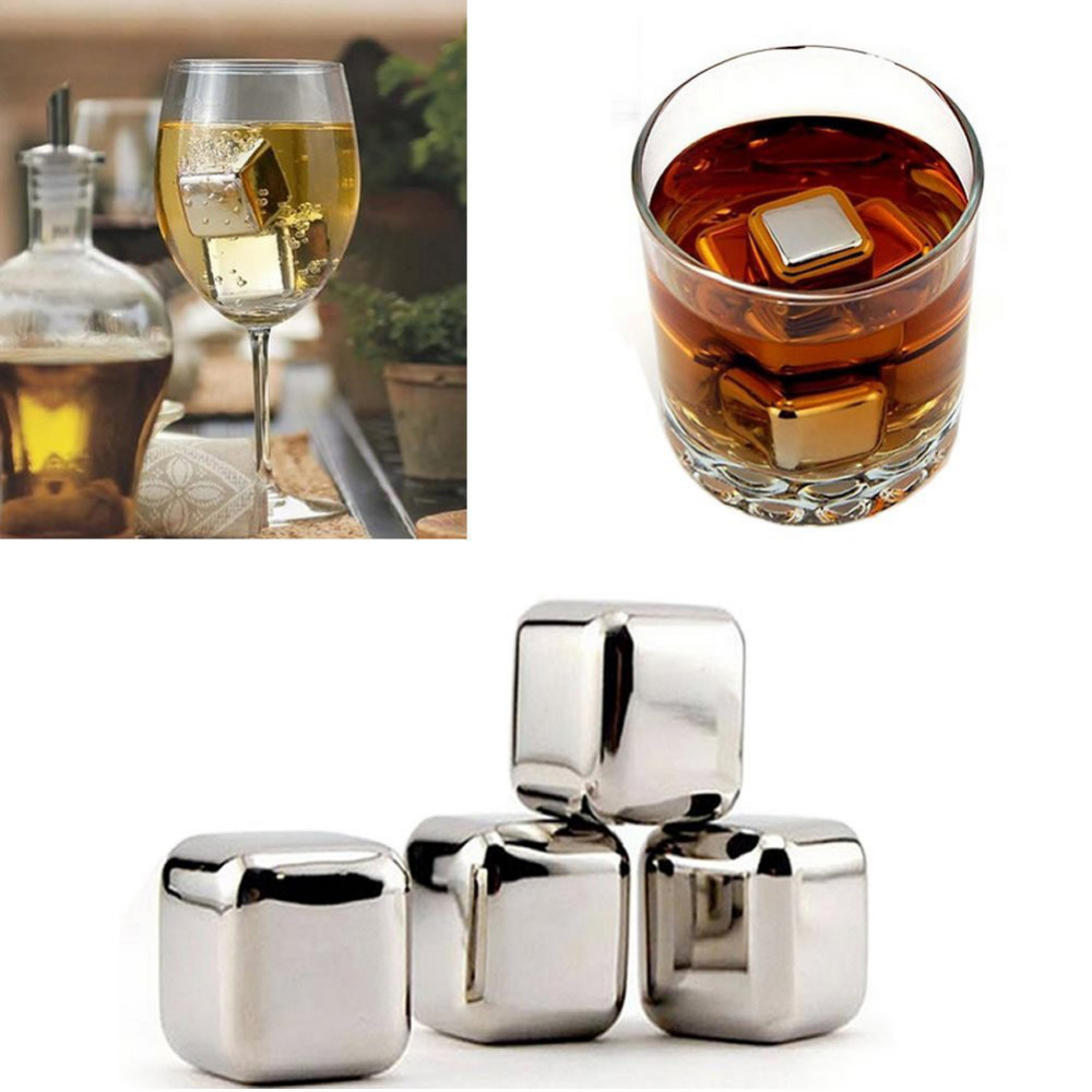 Stainless Steel 5PCS Whisky Ice Cube Whiskey Stones Whisky Wine Beer Rock Cooler Non-toxic Healthy Party Bar KTV Drinks Supplies