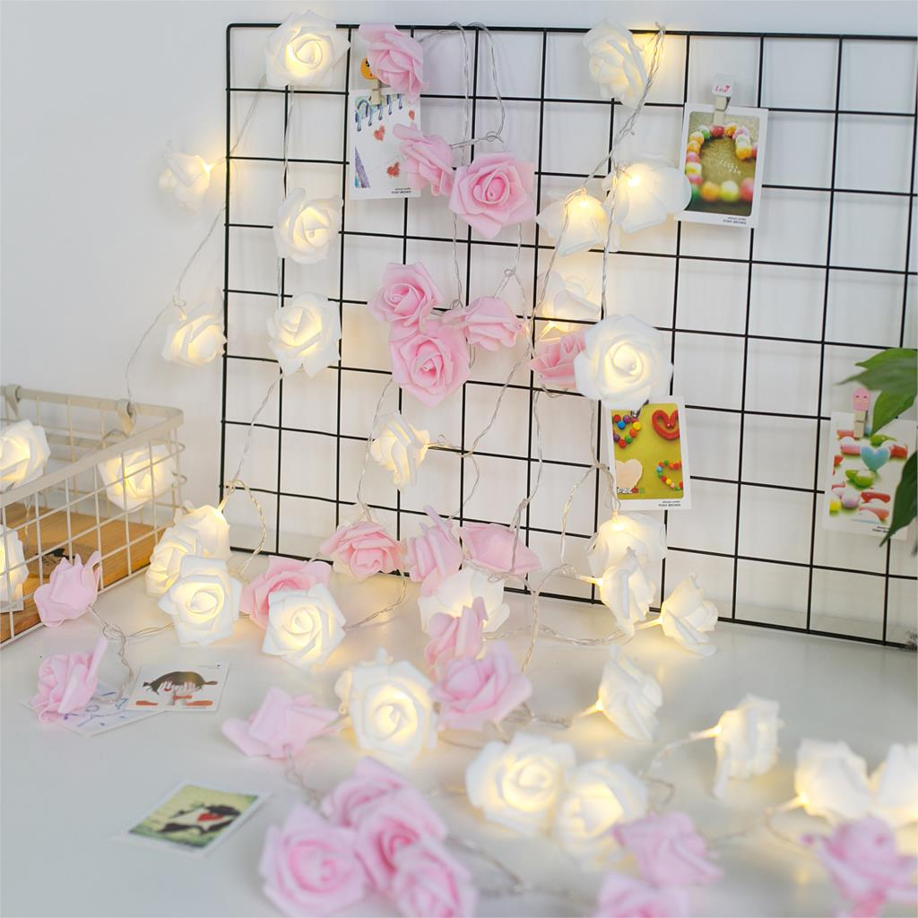 35led Fairy Beautiful Pink Rose Flower Lamp Battery Operated String