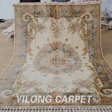 Yilong 6.56'x9.84′ Tabriz silk rug beige vantage antique handmade  oriental carpet (1641)