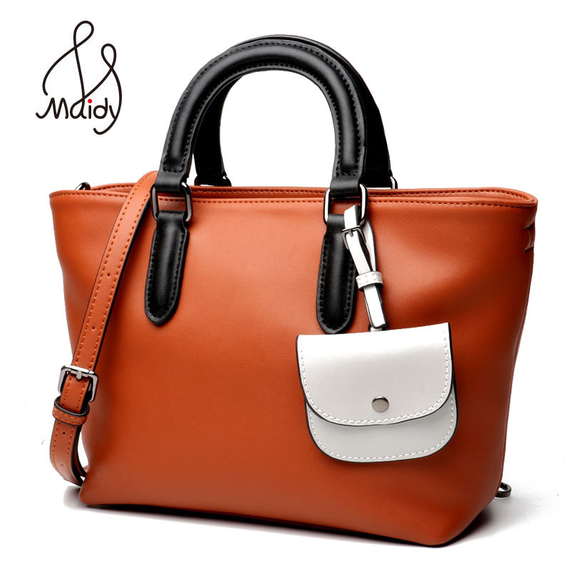 Maidy Luxury Womens Lady Soft Real Cow Leather Handbags Large Capacity Casual Tote Bag Shoulder Messenger Crossbody High Quality