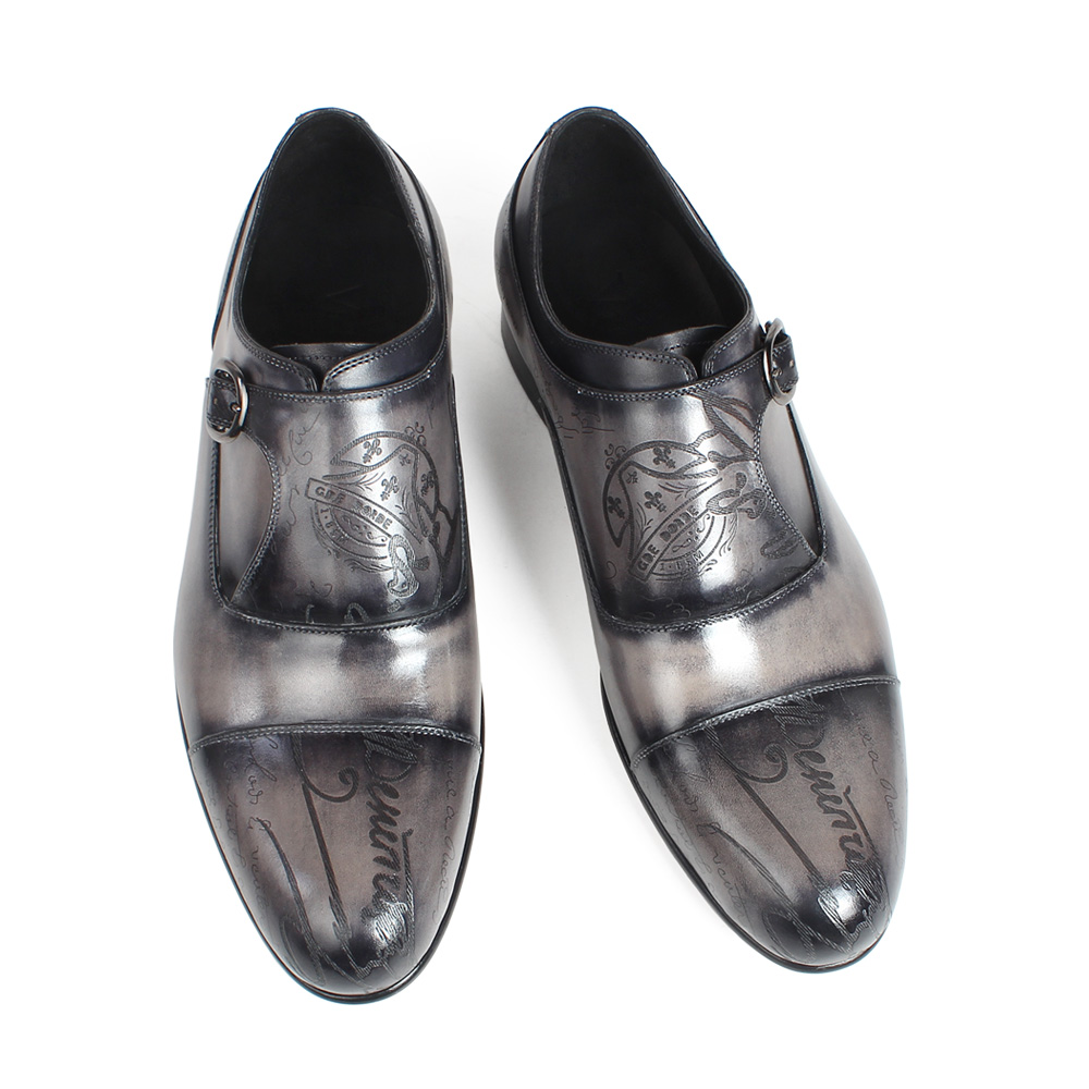 Formal A Homens Medida 2019 Monge De Sapatos Laser Casamento Vestido Escritório Vikeduo Dos Zapatos Gray Tira Genuínas Hombre Couro Patina Sob Carta UvcpqPWPn5