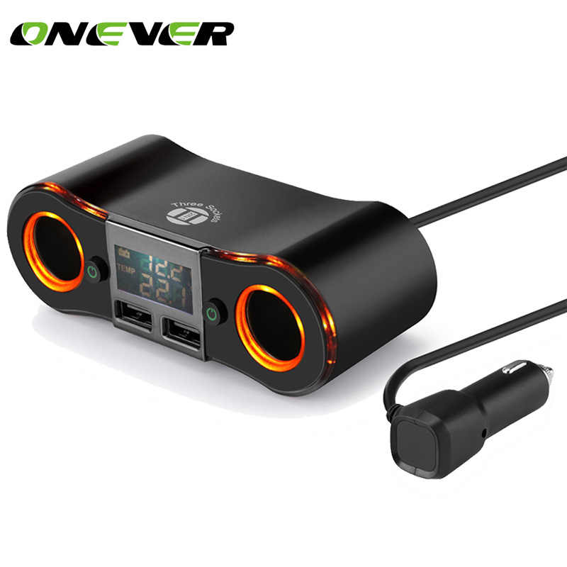 Car Cigarette Lighter Socket Power Adapter LED Display Voltage Tester 2 Switch Dual Usb Car Charger 3.5A 80W 12V-24V