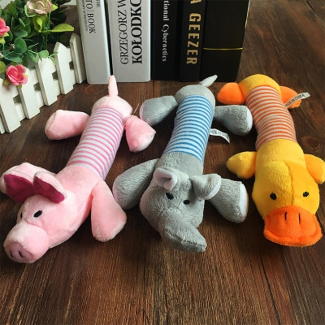 Popular Pet Dog Cat Funny Fleece Durability Plush Dog Toys Squeak Chew Sound Toy Fit for All Pets Elephant Duck Pig Plush Toys