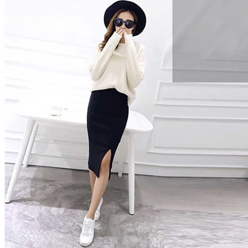 2019 Otoño Invierno Bodycon Falda Mujer Split falda media pantorrilla Slim lápiz faldas para mujer Knit Hip Sexy falda