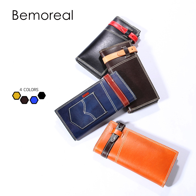 Bemoreal wallet women Long Genuine leather Men Luxury Vegetable tanned cow leather coin pocket hasp card holder handmade Purse casual weaving design card holder handbag hasp wallet for women