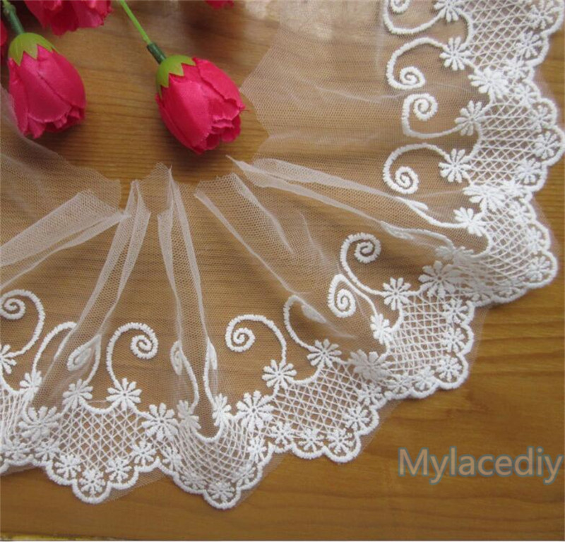 5 Yard Cotton Floral Sewing Lace Trim Craft Craft Applique Ribbon White