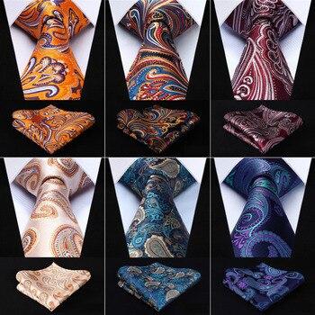Men 3.4″ Silk Tie Fashion Paisley Floral Party Wedding Classic Pocket Square Business Tie Woven Men Necktie Handkerchief Set