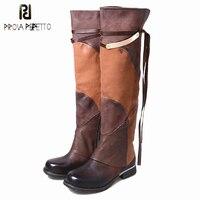 Prova Perfetto модные Пояса из натуральной кожи классные зимние Для женщин Сапоги и ботинки для девочек смешанные Цвет квадратный носок Сапоги вы