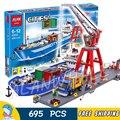 695 шт. городской конечный порт порта линии грузовой корабль рабочий кран 02034 фигурка строительные блоки игрушки совместимы с LegoING