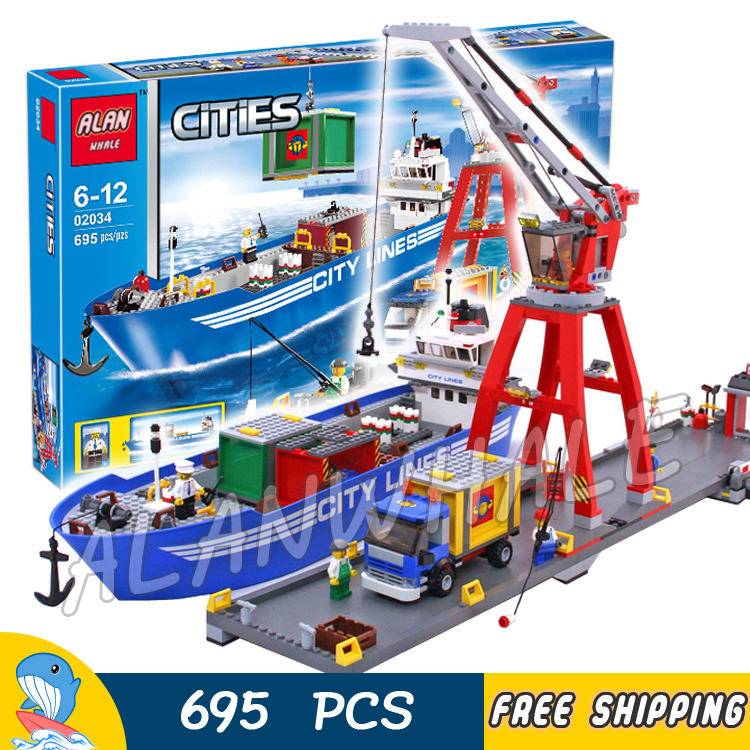 695pcs City Ultimate Harbour Port Lines Cargo Ship Working Crane 02034 Figure Building Blocks Toys  Compatible With LegoING-in Blocks from Toys & Hobbies