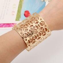 Lzhlq металлический широкий браслет геометрические полые браслеты