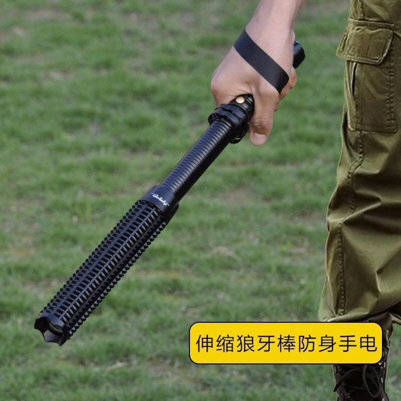 Lanterna Puissant Télescopique Led Cree Xml T6 Tactique de Lampe-Torche Torche Bâton Flash Lumière Auto-Défense 18650 OU AAA 3000 Lumens