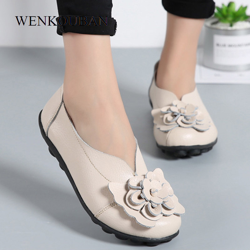 Genuine Leather Shoes Women Ballet Flats Flower Summer Loafers Mocassin Slip On Ladies Creepers Casual Shoes Zapatos Mujer Size цена