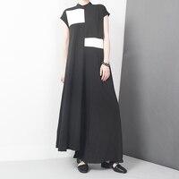 Women Dress 2016 Summer Black And White Color Patchwork Long Dress Asymmetrical Hem Stand Collar Women