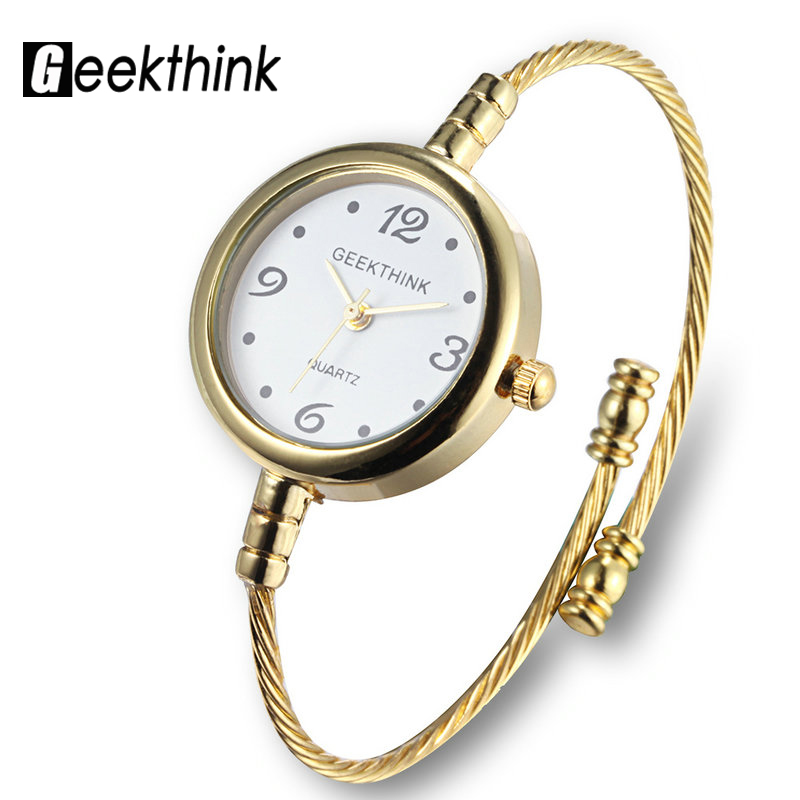 GEEKTHINK Unique Fashion Brand Quartz Watch Women Bracelet Ladies Rose Gold Watch female Simple Ring steel
