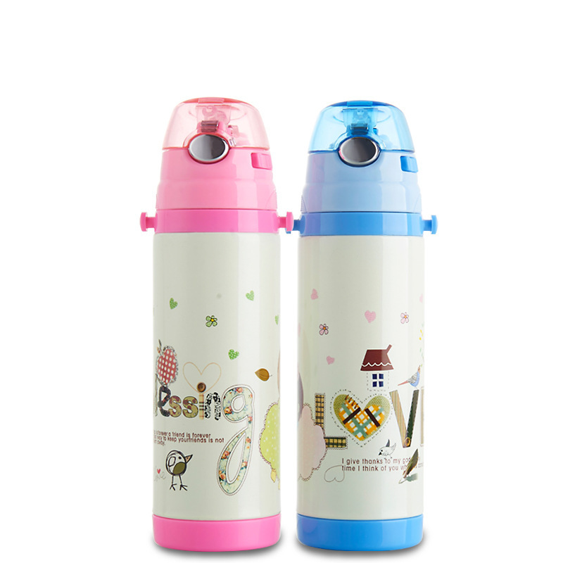 Straw baby Children Study Drink thermal Cup Stainless Steel Lovely Cartoon Leak Proof Straps