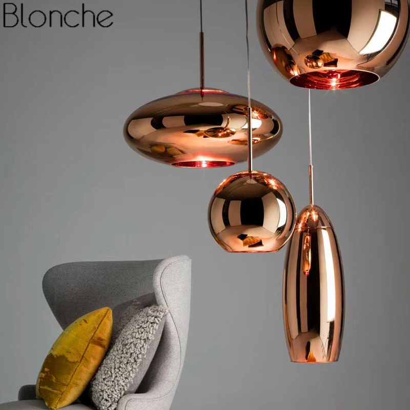 Tom Dixon Copper Pendant Lights Gl Ball Modern Hanging Lamp For Living Room Loft Home Decor Mirror Light Fixtures In From