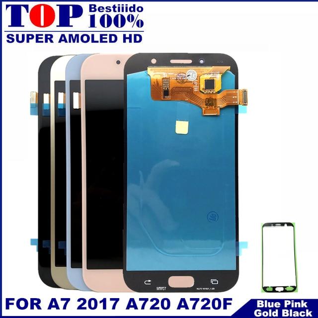 Pantalla de teléfonos Super AMOLED para Samsung Galaxy A7 2017 A720 A720F A720M LCDs pantalla táctil digitalizador montaje LCD reemplazo