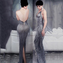 Sparkly Rhinestones Pearl Gray Tassels Long Dresses Female Singer Stretch Package Birthday Celebration Party Bar Clothing DT511(China)