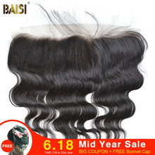 BAISI Body Wave Peruvian Virgin Hair Swiss Lace Frontal Closure Size 13*4,PrePlucked Natural Hairline Bleached Knots Baby Hair(China)