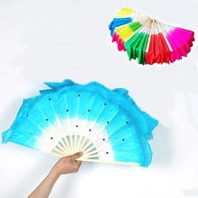 Blue Rose Red Green Colorful Belly Dance Women Costume Bamboo Long Silk Fans Veil Fan Hand Made