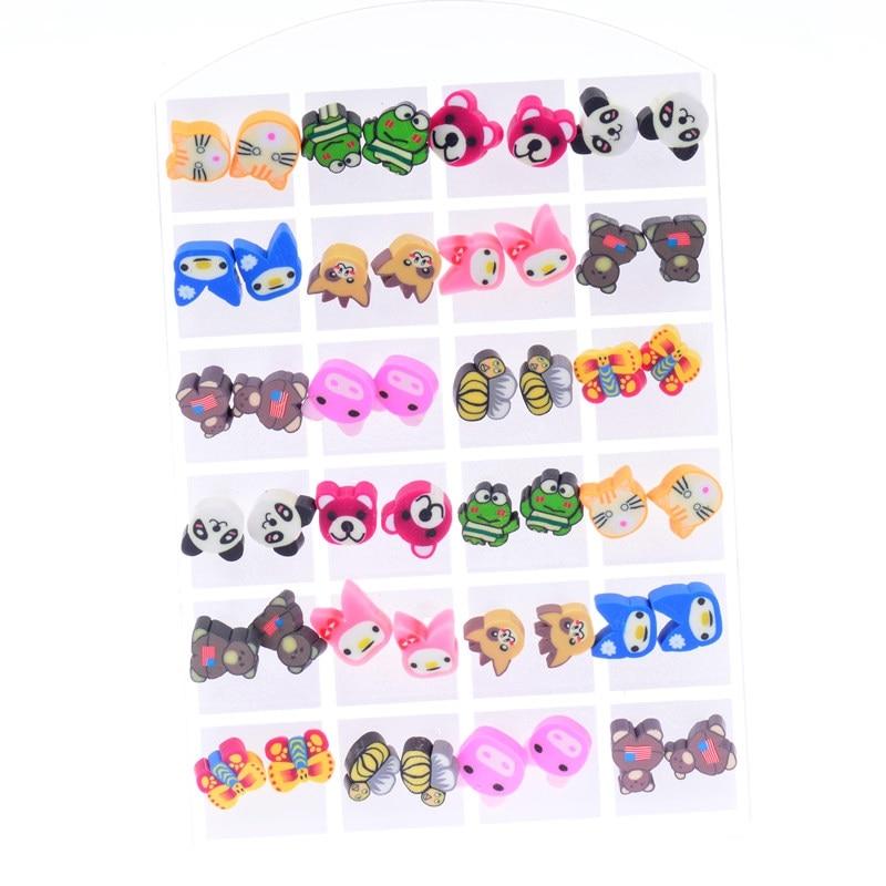 DOUVEI Hot Wholesale 24 Pairs Environmental Free Plastic Resin Animal Children Earring S ...