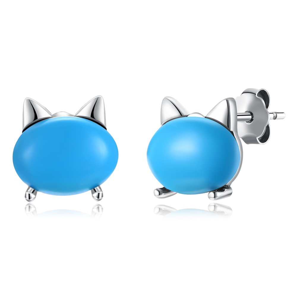 S925 sterling silver jewelry high-grade women's sterling silver stud ear cat ear studs 2018 new sterling silver jewelry