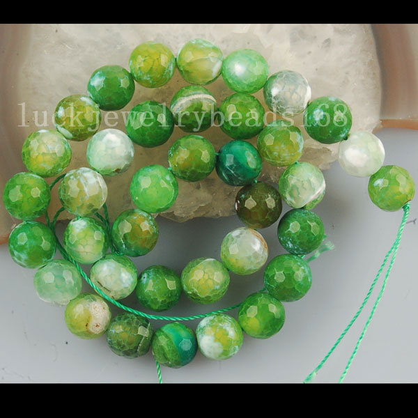 Free shipping Women 10mm Green Dargon Veins Carnelian Faceted Ball Loose Beads FG6150