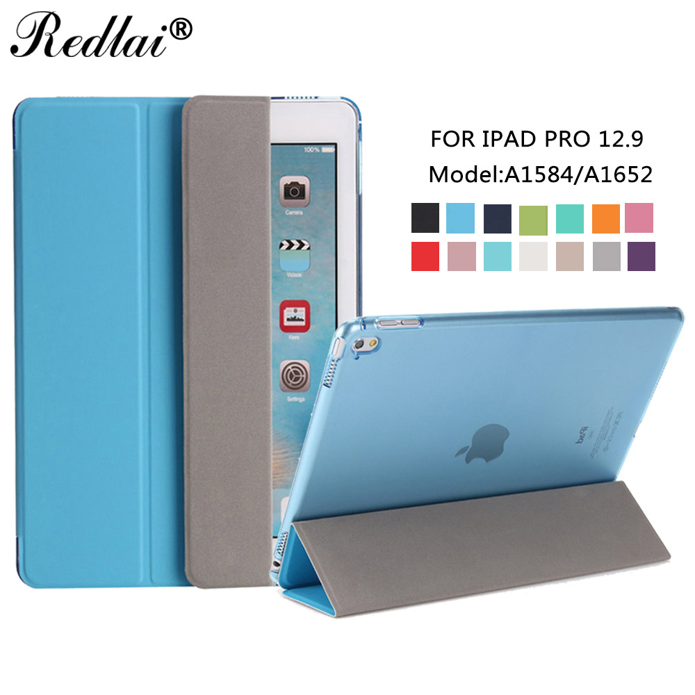 Case For iPad Pro 12.9-inch,Redlai Ultrathin Auto Wake Smart Cover Case Soft TPU Translucent Back Case For iPad Pro 12.9 2015 redlai for ipad pro 10 5 inch 2017