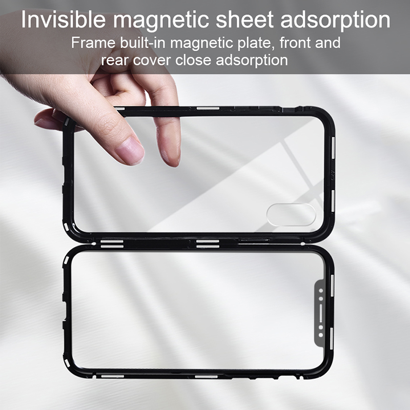Suntaiho Magnetic Phone Case for iPhone X XS 8 7 plus Clear Tempered Glass Built-in Magnet Case for iPhone X XS 8 7 Metal Cover