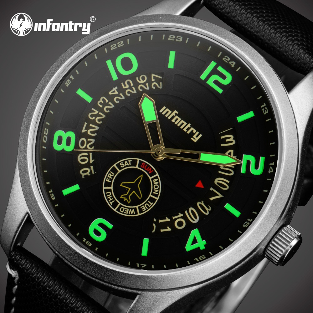 INFANTRY Luxury Brand Tactical Analog Display Date Men Quartz Watch Waterproof Luminous Army Watch Male Clock